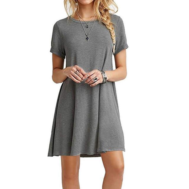 943372fddac9 Online Shop Summer Mini Tent Dress Casual Round Neck Gray Army Green Black  Khaki Plain Basic Short Sleeve Ladies Dresses 2018 Women Dress