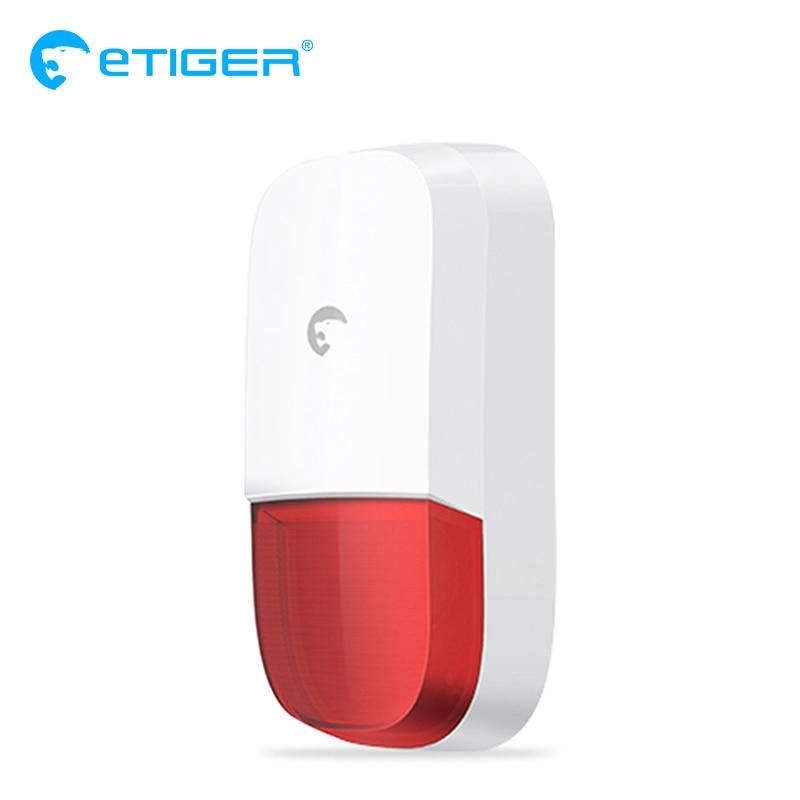 eTIGER 110dB siren comes with a strobe light Wireless Siren for eTIGER Alarm System S4 S3B