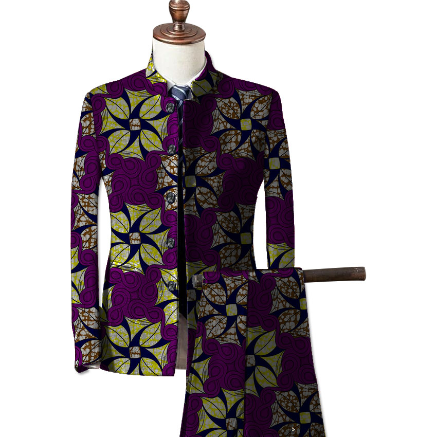 African fashion mens formal wear blazers printed dashiki suit jacket and pants set customize prints africa clothing 2
