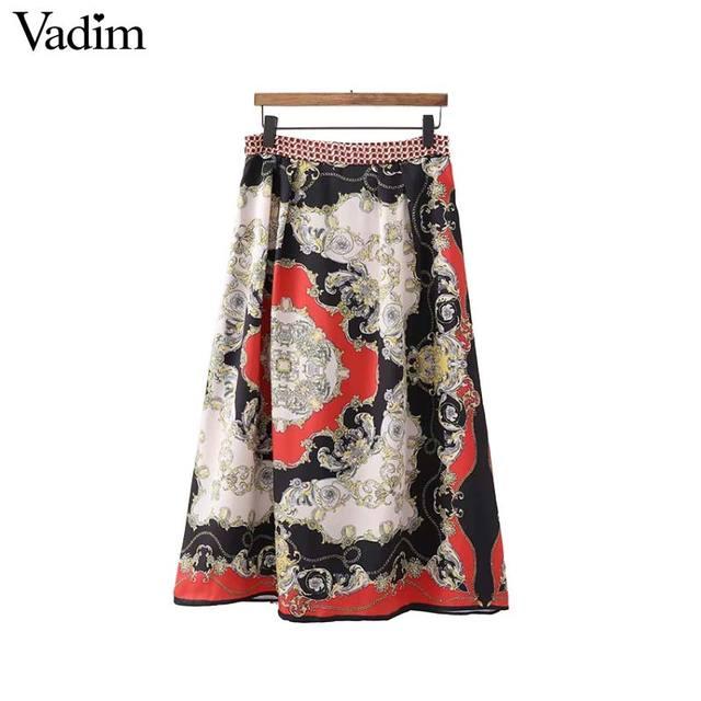 c855fab63ae Vadim mujeres elegante cadenas Falda midi plisada con estampado falda faldas  mujer diseño de cremallera damas
