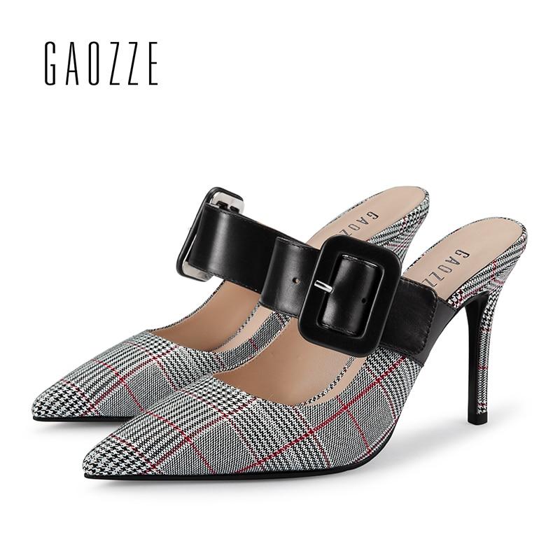 GAOZZE Ponited Toe Fivela de Cinto Mulas Estilete sapatos de Salto Alto Moda da Manta Das Senhoras Slingbacks Bombas Finos Sapatos de Salto 2018 Nova Primavera