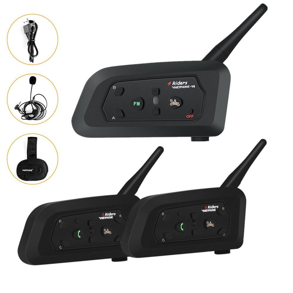 VNETPHONE 3 voies arbitre casque Intercoms haut-parleur Bluetooth comprennent deux V6C un V4C 1200 m FM MP3 GPS étanche pour 3 arbitres