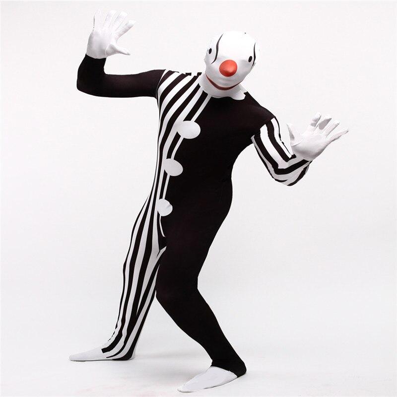 Intéressant Clown scène Cosplay Costume Halloween carnaval 3D imprimer corps complet Zentai costumes drôle fantaisie robe pour adultes enfants