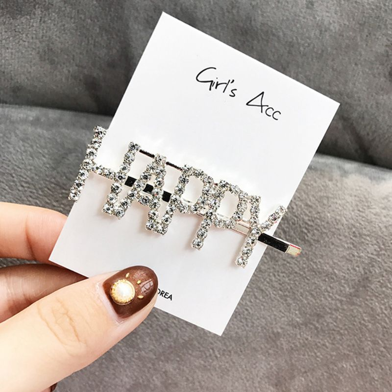 Купить с кэшбэком English Letter Hairpin Barrette Rhinestone Alloy Personality Word Women Girls Hair Clips Hairclip Hair Accessories For Hair