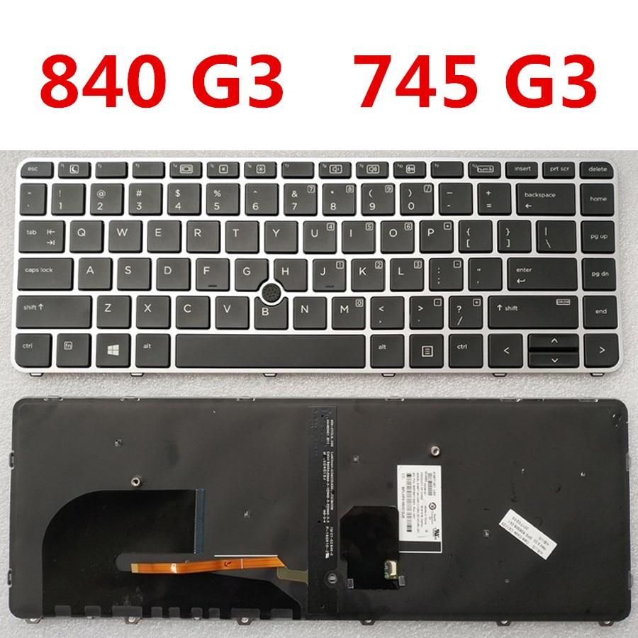 Orignal Laptop Backlit Keyboard For HP Elitebook 840 G3 745 G3 Genuine For HP 840 G3 745 G3 Notebook Keyboard Silver Version(China)
