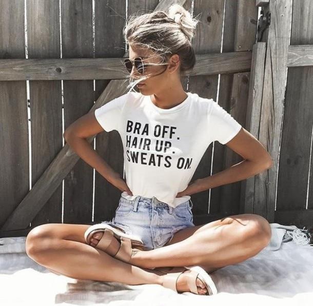 Bra Off Hair Up Sweats On Letters Print Women T Shirt -4610