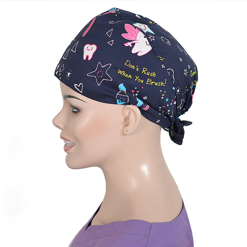 Medical Surgical Cap Dentists Medical Scrub Cap For Women And Men Surgical Hats Cotton Soft Sweat Band   Dentistry Tooth Fairy
