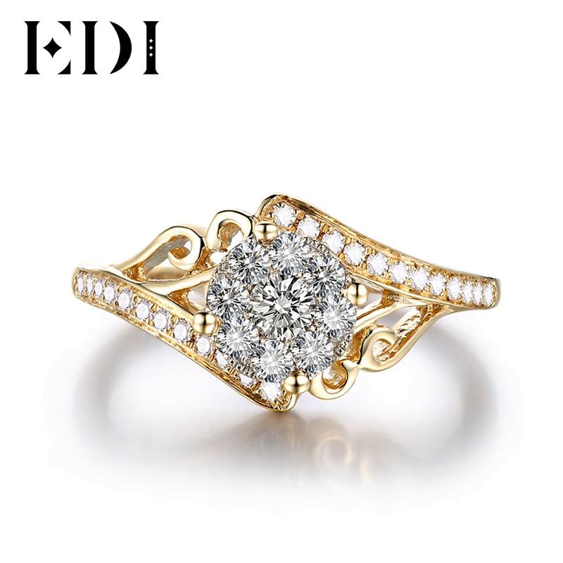 EDI Unico Moissanites Anello di Diamanti 1ctw Taglio Rotondo 9K Oro Giallo Anelli di Cerimonia Nuziale Per Le Donne Gioielli Con Diamanti-in Anelli da Gioielli e accessori su  Gruppo 2