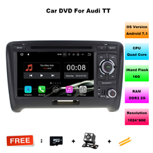 7 Inch Quad Core 1024*600 Android 7.11 Car DVD GPS Navigation Player Car Stereo for Audi TT 2006-2012 with Radio 3G Wifi RDS DAB