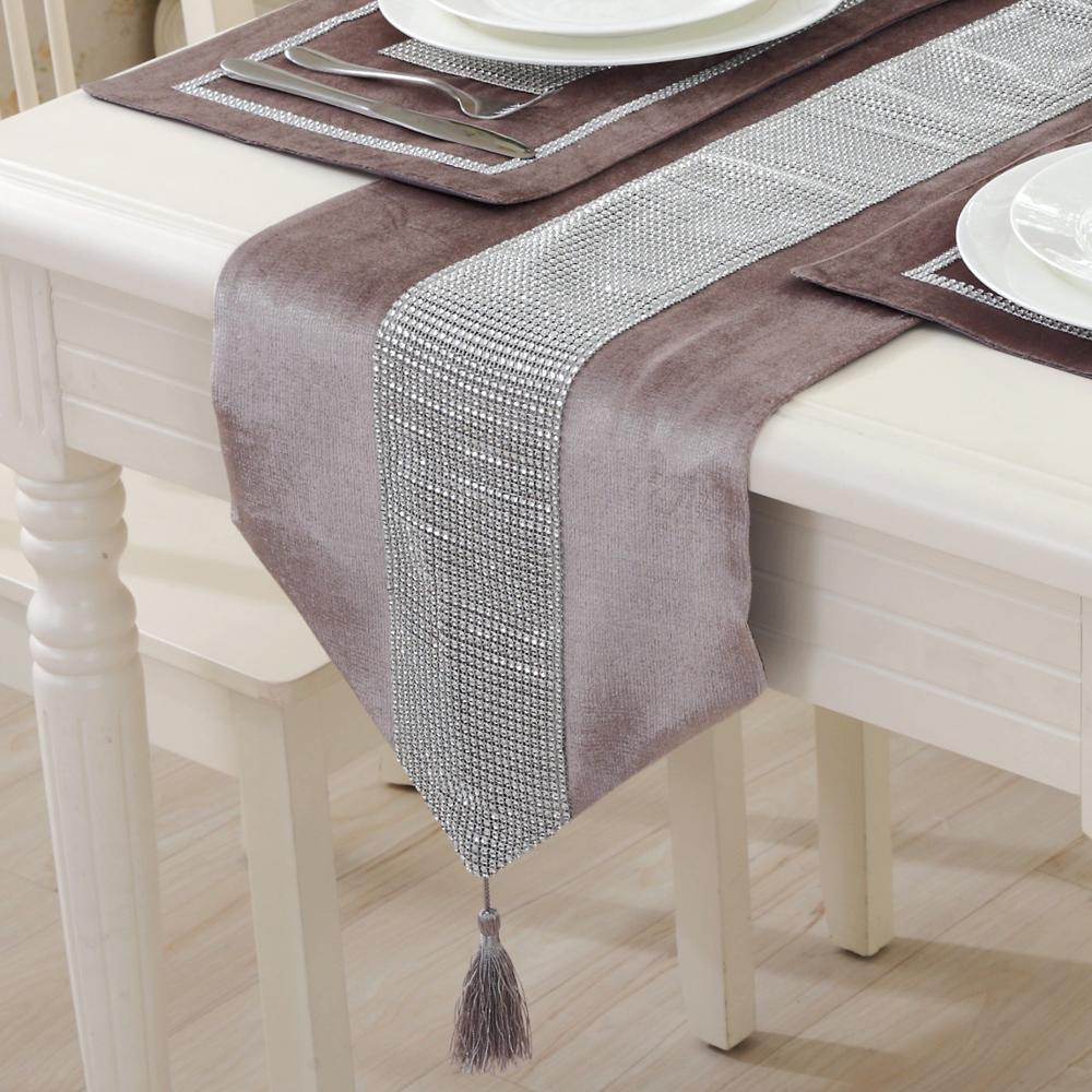 Delightful 1 PCS Table Runners Rhinestone Technology Cotton Linen Polyester Fabric  European Pattern Home Decoration Black Champagne Grey  In Table Runners  From Home ...
