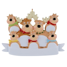Reindeer Family Of 7 Resin Hanging Personalized Christmas ornaments As For Holiday or New Year Gifts Home Decoration