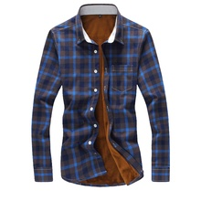 plus size 5xl 2016 winter fashion mens plaid shirts long sleeve flannel mens shirts regular fit good quality warm male shirt