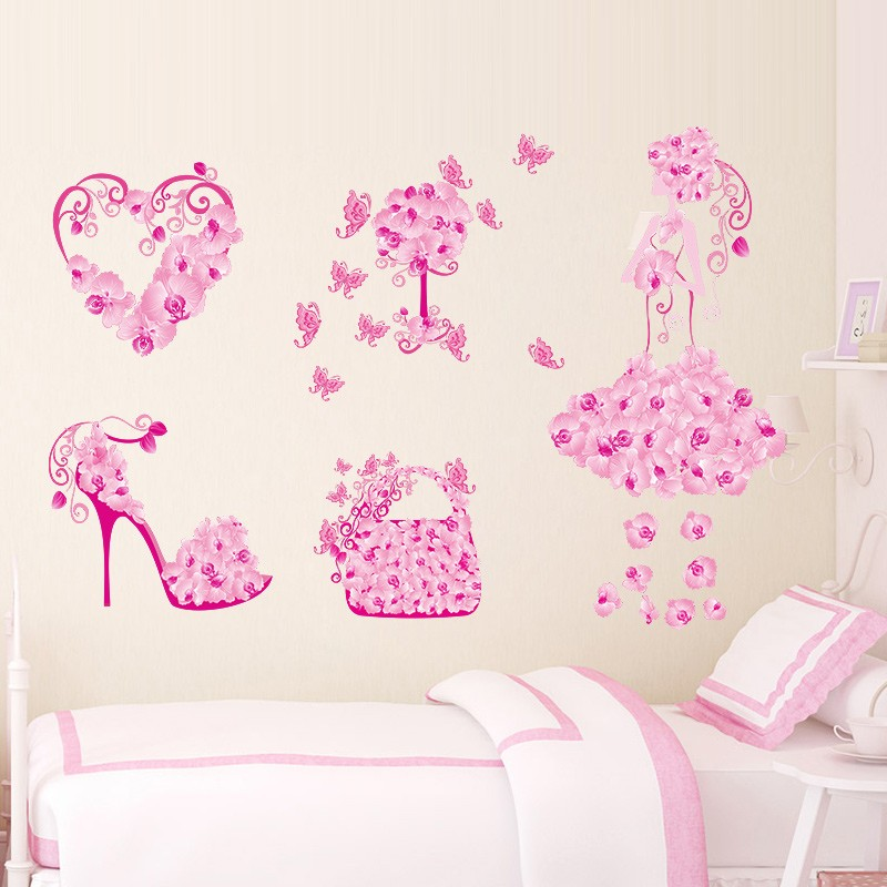 Elegant Flower Girl Bag Shoes Butterflies Pvc Wall Stickers For Kids Room Home Decor Wall Art Diy Removeable Decals Girl's Gift