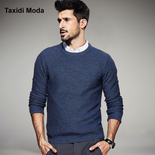 2017 Spring Mens Fashion Sweaters 100% Cotton Plaid Knitted Blue Brand Clothing Man's Slim Knitwear Pullovers Knitting Clothes