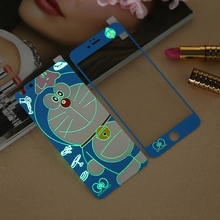 Glow in the dark luminous raised doraemon Tempered Glass film Screen Protector back cover for iPhone