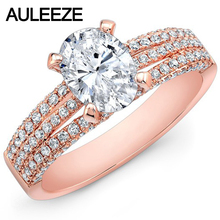 1.5CT Oval Cut Lab Grown Diamond 14K Rose Gold Triple Split Shank Ring Cathedral Moissanites Wedding Engagement Ring For Women