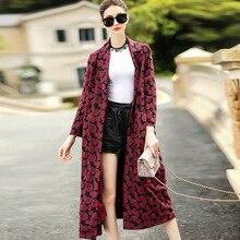 Kakagogo 2017 Autumn Fashion Dobby X long Open Stitch Wide waisted Trench font b Coat b