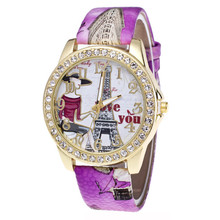 a43a214d89c Senhoras Relógios de Diamante Inserir Impressão Da Torre Eiffel Em Paris  Relógio De Pulso Das Mulheres