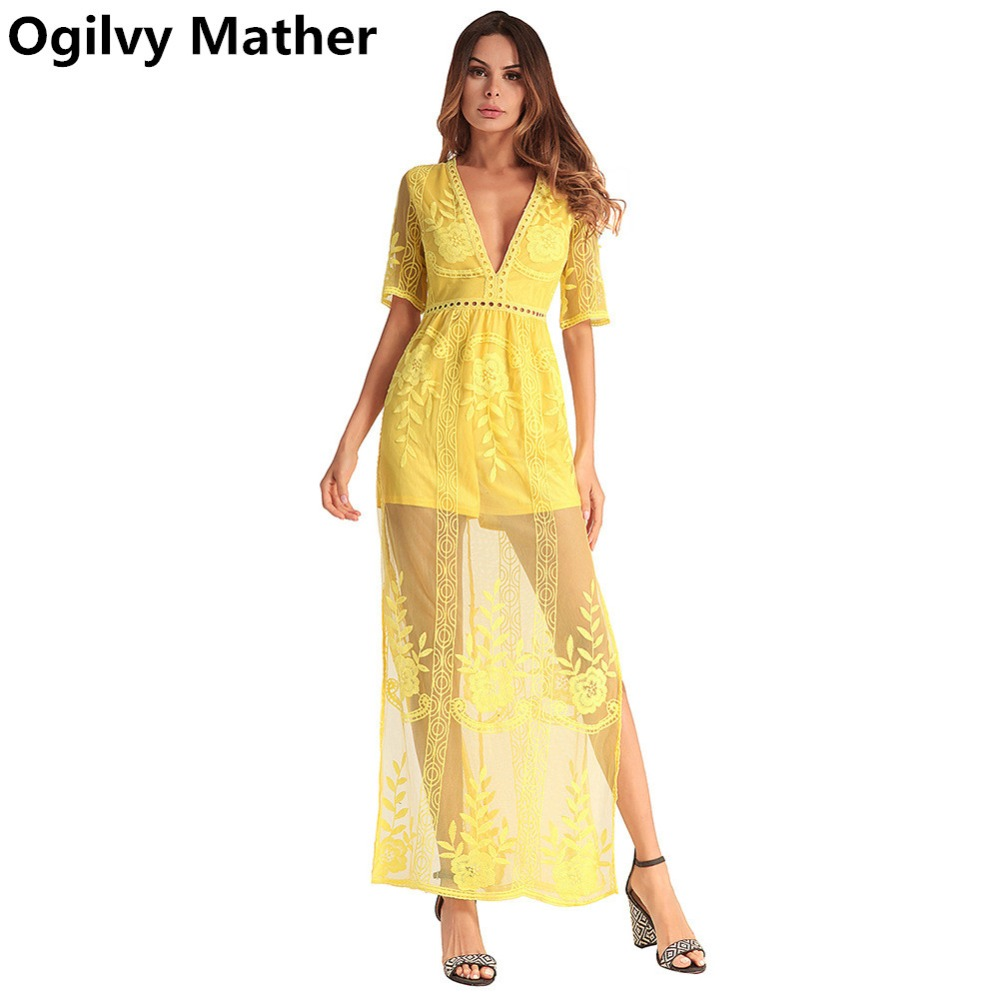 2018 Spring Summer New High Quality female V-neck party Dress Sexy transparent Lace Long beach Dress plus size dresses for wome