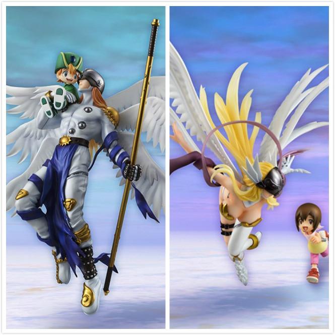 Anime Dijital Canavar Angemon & Angewomon Modeli Action Figure OyuncaklarAnime Dijital Canavar Angemon & Angewomon Modeli Action Figure Oyuncaklar