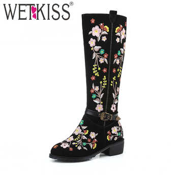 WETKISS Ethnic Style Delicate Embroider Knee Boots Buckle Strap Women's Autumn Winter Boot Genuine Leather Suede Women Shoes - DISCOUNT ITEM  40% OFF All Category