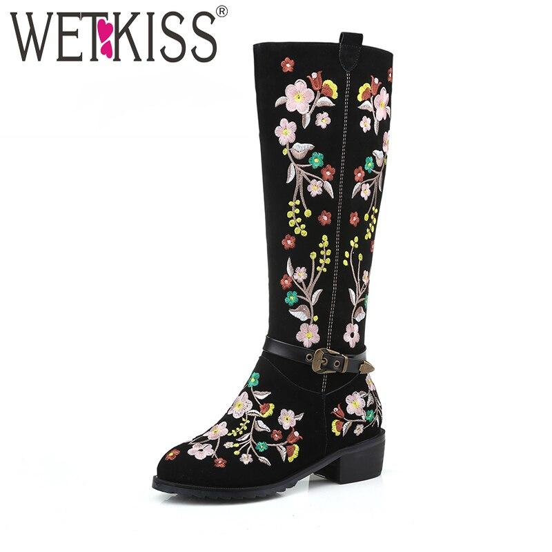 WETKISS w stylu etnicznym delikatna haftować kolana wysokie buty klamra pasek kobiety jesień buty zimowe prawdziwej skóry zamszowe damskie buty w Kozaki do kolan od Buty na  Grupa 1