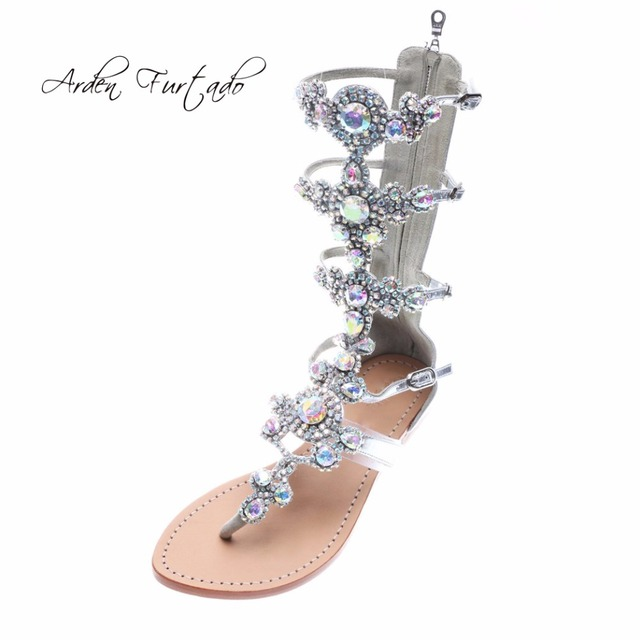 Arden Furtado 2018 summer flats crystal bling bling rhinestone gladiator fashion  sandals shoes woman ladies zipper flip-flops 0261fb40cad9