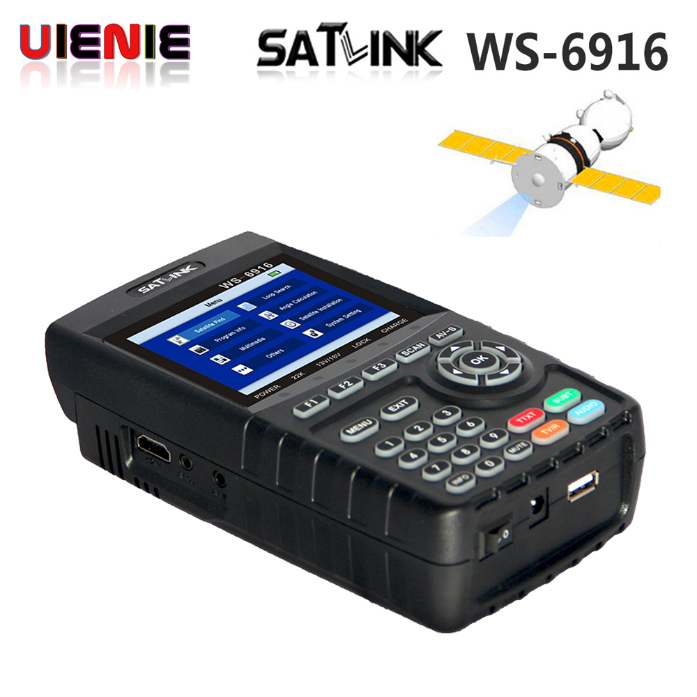 Original Satlink WS-6916 Satellite Finder DVB-S2 MPEG-2/MPEG-4 Satlink 6916 High Definition Satellite meter TFT LCD Screen pK V8 satlink ws 6979se satellite finder meter 4 3 inch display screen dvb s s2 dvb t2 mpeg4 hd combo ws6979 with big black bag