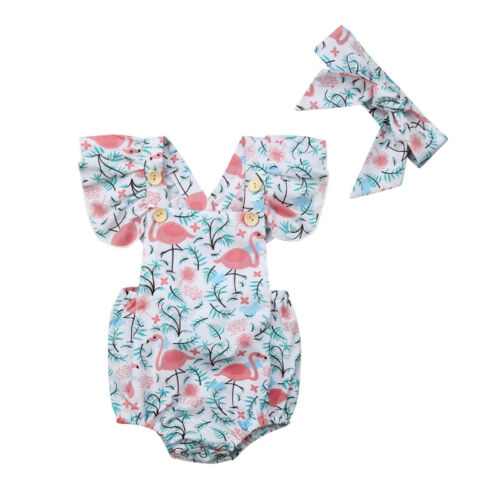 2019 Baby Girl summer clothing Flamingos   Romper   Headband Summer Outfits for Kid clothes toddler Children newborn