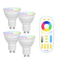 Ми свет с регулируемой яркостью светодио дный лампы 4 Вт GU10 RGB CCT (2700-6500 К) светодио дный лампа внутренней отделки + 2,4G RF светодио дный удаленно...