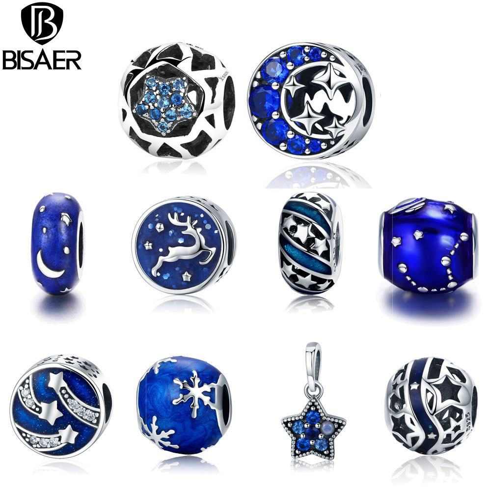 11.11 Sale 925 Sterling Silver Blue STARS Moon Snowflake Perles Star Beads Charms Fit Women Charm Bracelets Silver 925 Jewelry 925 sterling silver bracelets for women moon and star cz crystal bracelets