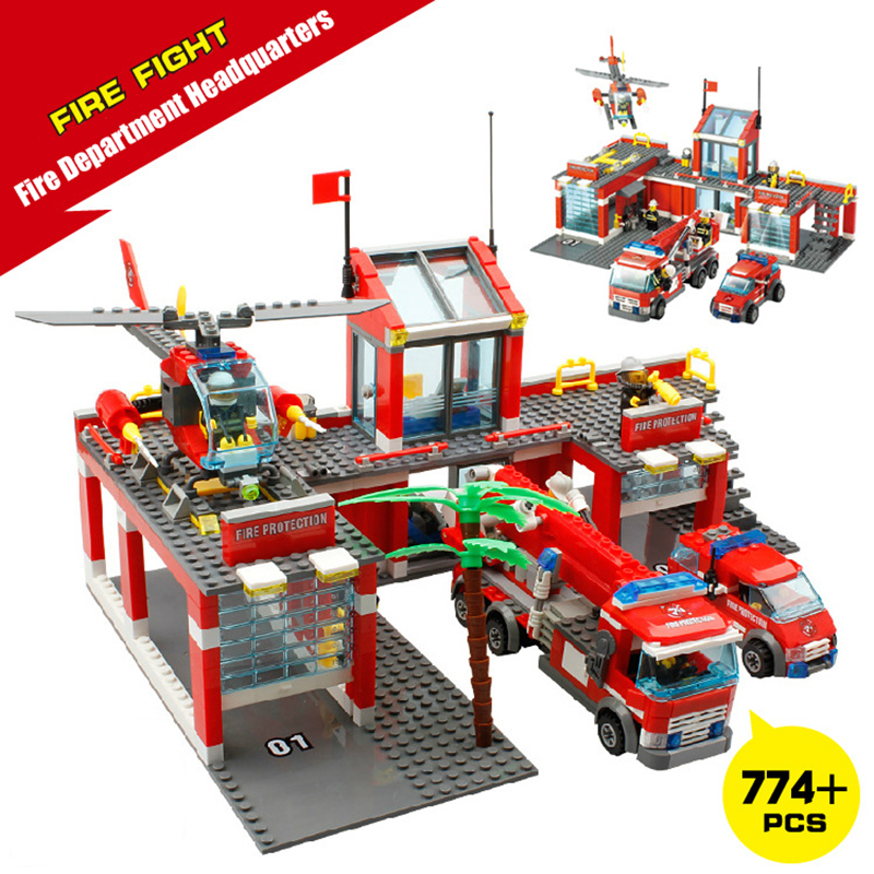 Fire fighting Station Building Blocks Bricks Educational Toys Model Building Kits Truck Car Kids Toys compatible for Child kazi fire department station fire truck helicopter building blocks toy bricks model brinquedos toys for kids 6 ages 774pcs 8051