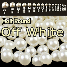Off White Beige Half Round Flat back Pearls mix sizes 2 3 4 5 6 8 10 12mm-25mm all ABS imitation fashion beads to DIY nail art(China)