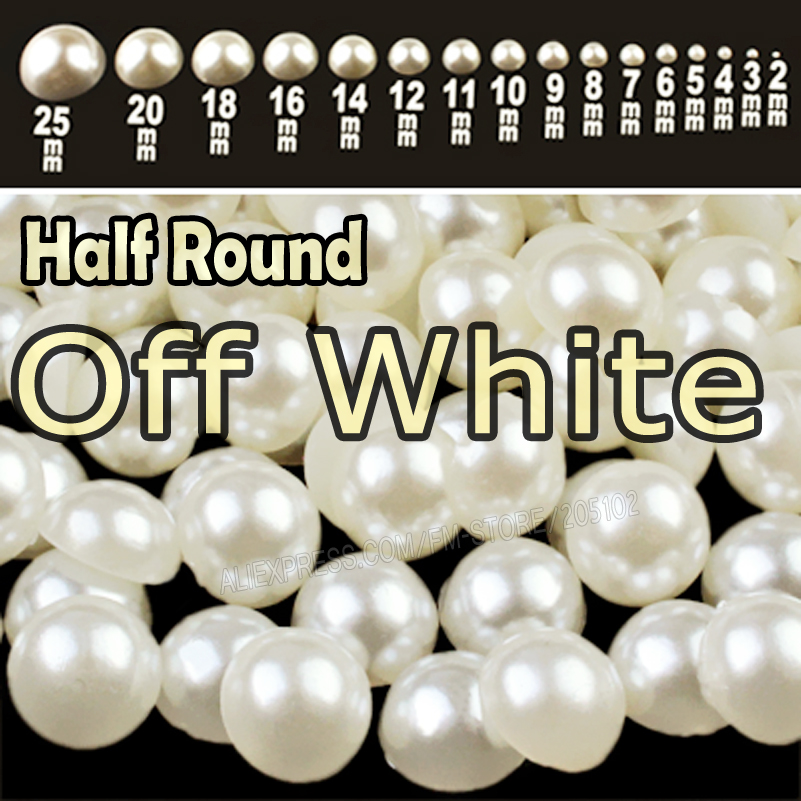 Off White Beige Half Round Flat back Pearls mix sizes 2 3 4 5 6 8 10 12mm-25mm all ABS imitation fashion beads to DIY nail art