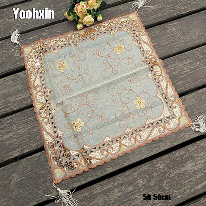Modern Gold Sequin Square Tablecloth Embroidery Lace