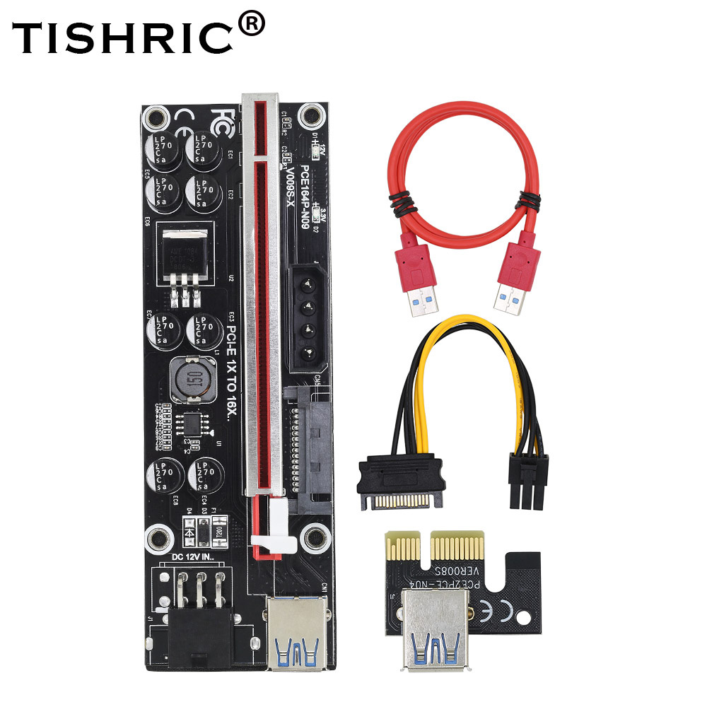 TISHRIC 2019 VER009S-X PCI-E PCIE Riser Card 009s PCI Express Adapter 3 In 1 Molex 6Pin SATA To USB 3.0 Cable 1X 16X Extender