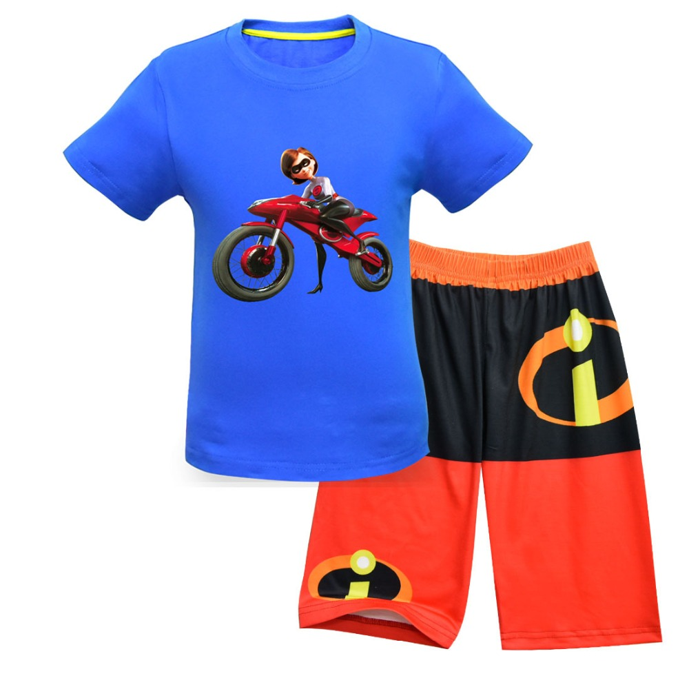 2019 New Boys and Girls Set Superman Story Halloween Costume Carnival Casual Set Short Sleeve Beach Pants Five Pants Mask