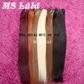 Образец Заказа 1 шт. 100 г Красочные Чистая # 1b # 99j #6 #613 бразильские волосы шелковистые прямые человеческие волосы Не клубок Не проливает MS Лула волос