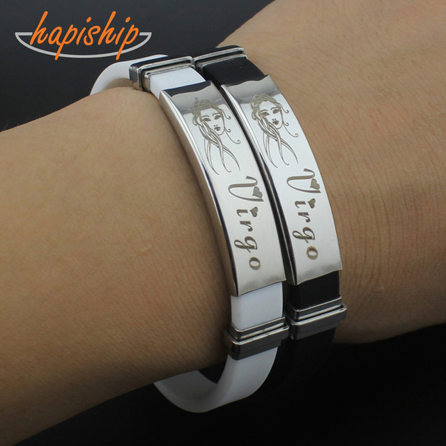 1Pcs 12 Constellations Zodiac Signs Stainless Steel Bracelets Men Women Rubber C
