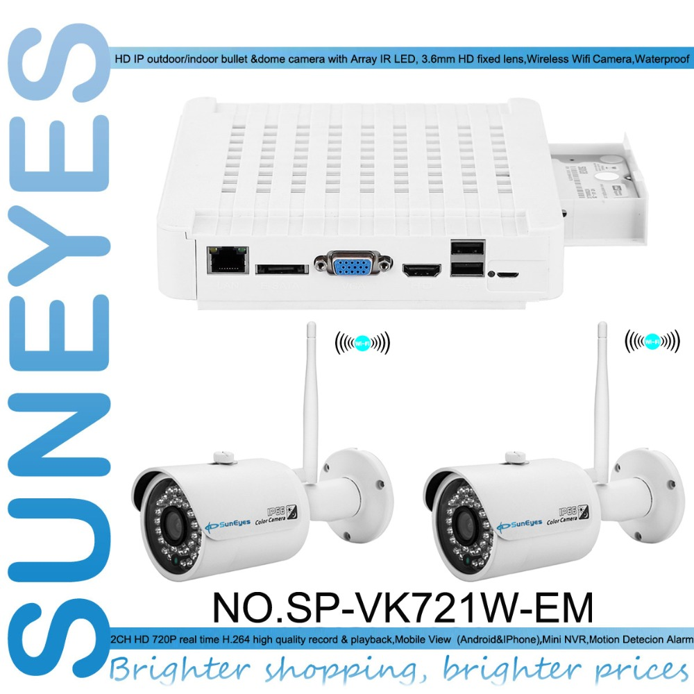 SunEyes SP VK721W EM 720P HD 2CH IP CCTV Camera NVR Kit with 2pcs HD font