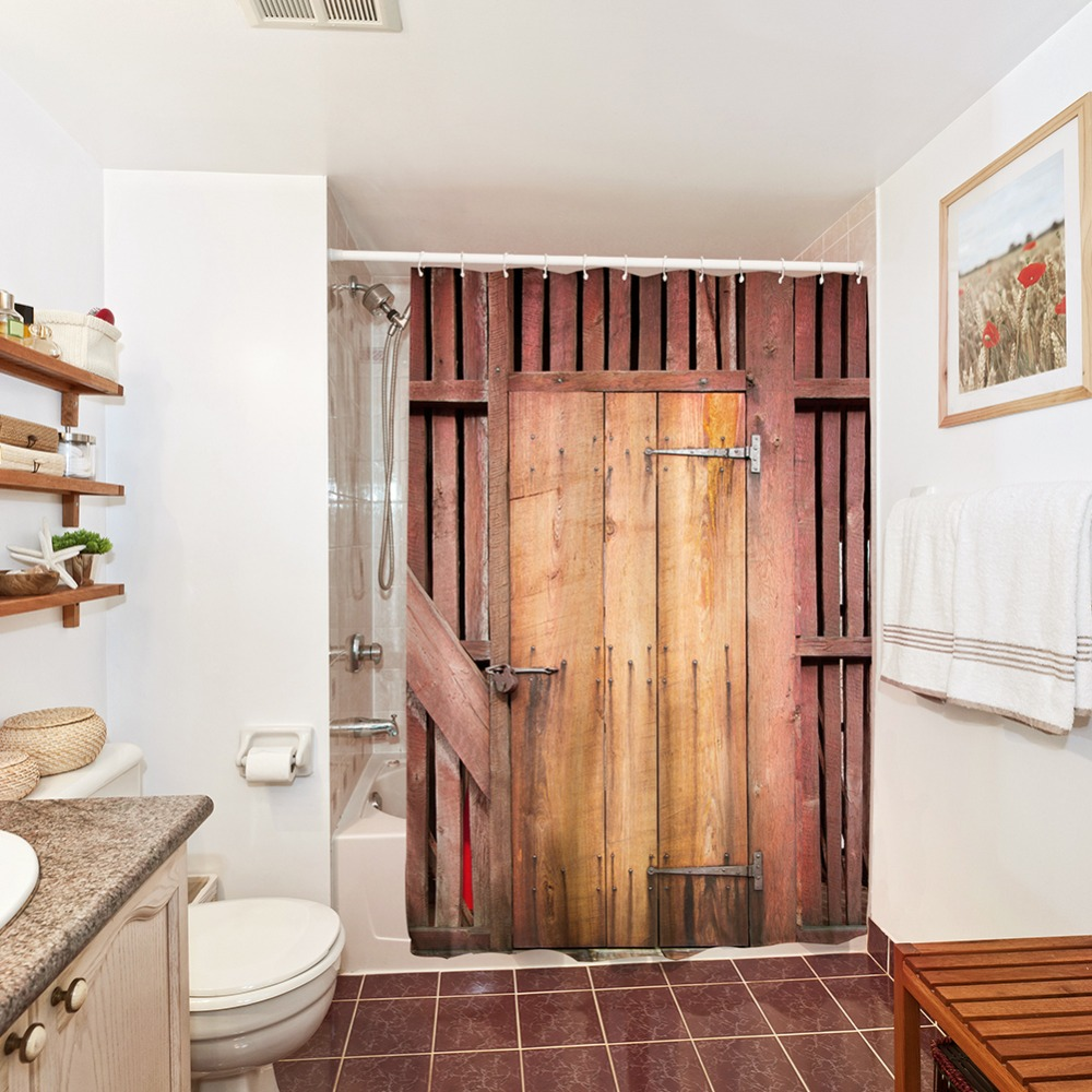 Shower Curtain Waterproof Vintage Barn Door Design Polyester Bathroom  Curtains Bath Bathing Sheer Washable Shower Curtain