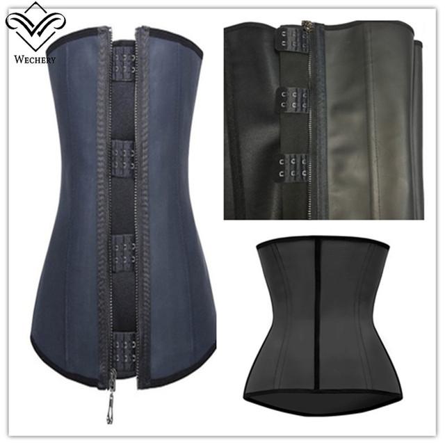 Wechery gaine de goma de látex látex corsé corsés negros y bustiers affinant la taille bustier corset correa modelado