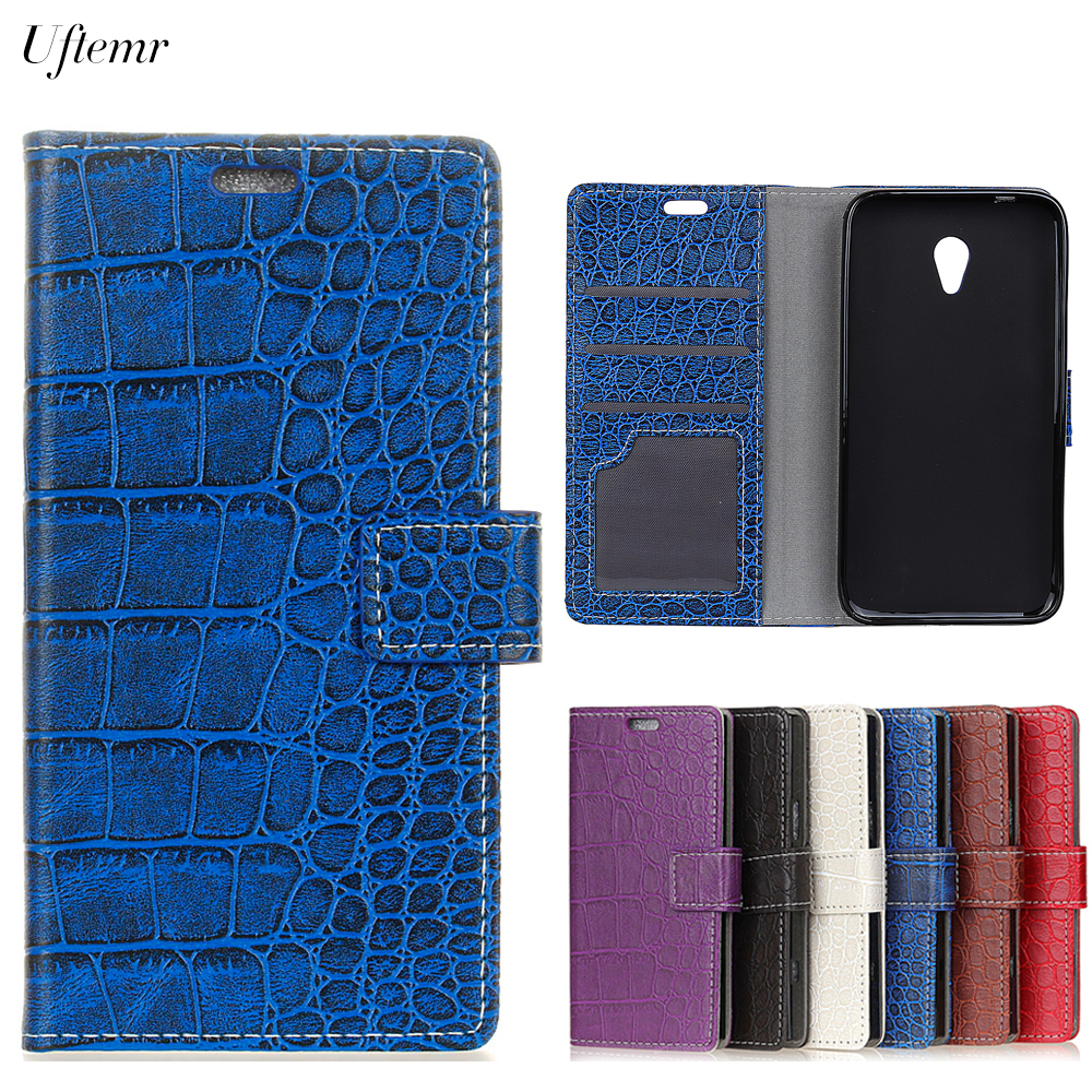 Uftemr Vintage Crocodile PU Leather Cover For Alcatel U5 HD Protective Silicone Case Wallet Card Slot Phone Acessories