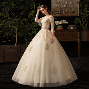 Image 4 - Champagne V Neck Half Sleeve Tassel 2019 New Wedding Dress Lace Applique Custom Made Plus Size Bridal Gown Vestido De Noiva L