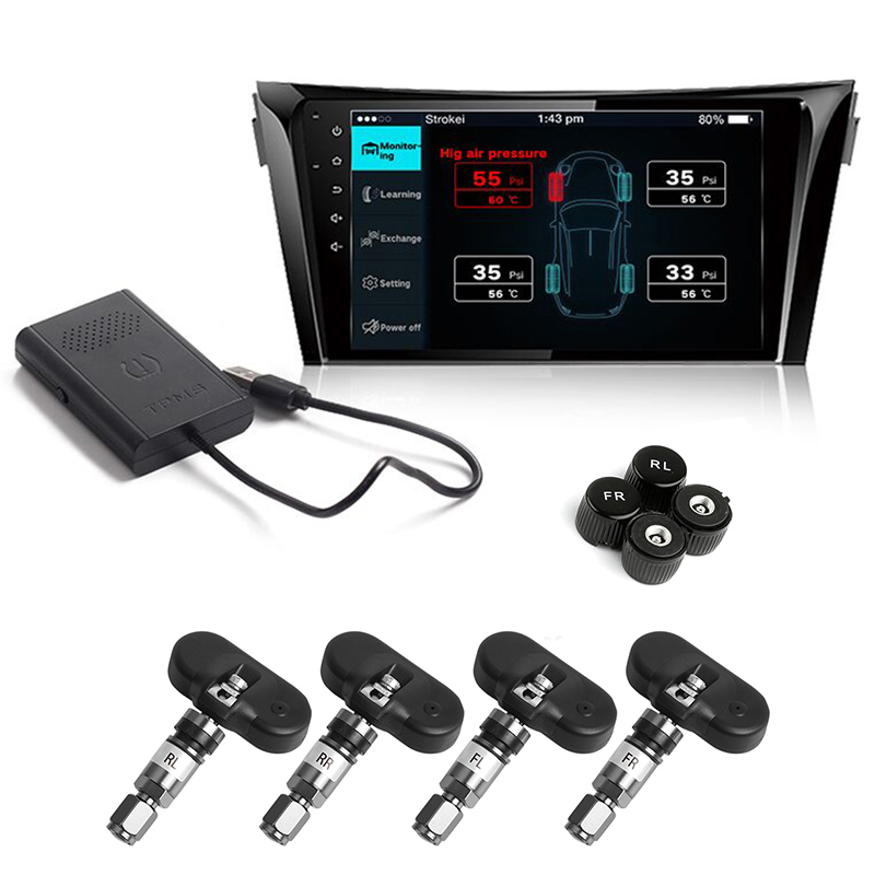 Car TPMS Android DVD Player USB Connection Monitor Wireless Tire Pressure Monitoring System with 4 Internal/External Tyre Sensor