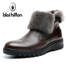 Blaibilton winter 100% Genuine Leather Cow Sheepskin Wool-One Patchwork Snow Boots Men Shoes Side Zip Warm Fur Mens Ankle Boot