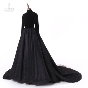 Image 2 - Jusere Real Photos High Neck Back Open Black Prom Dresses Silk Velvet A Line Evening Dress With Tail robe de soiree 2019