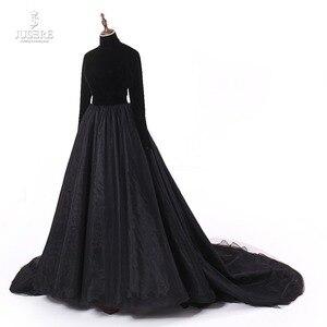 Image 2 - Jusere prawdziwe zdjęcia wysokiej szyi powrót otwórz czarne suknie balowe jedwab aksamit linia wieczorowa sukienka z ogonem szata de soiree 2019