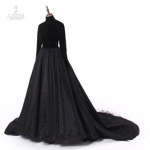 Image 2 - Женское вечернее платье с высоким воротом Jusere, черное шелковое бархатное платье трапеция с открытой спиной, платье для выпускного вечера, 2019