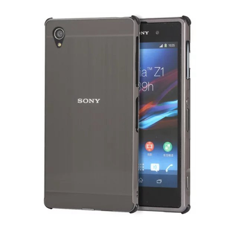 Luxury Shockproof Aluminum Bumper For Sony Xperia Z1 Case Brushed Metal Hard PC Back Cover For Sony Xperia Z1 L39H C6903 Cases